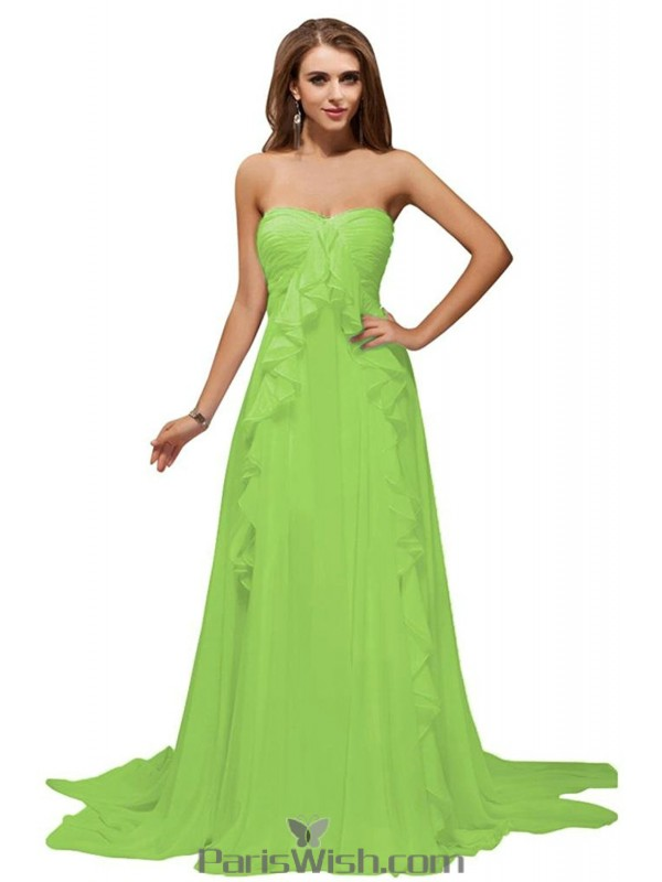 Pleated Chiffon Strapless Lime Green Evening Prom Dresses