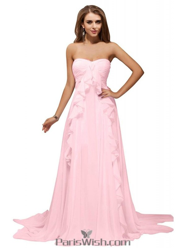 Pleated Chiffon Strapless Long Pink Evening Prom Dresses