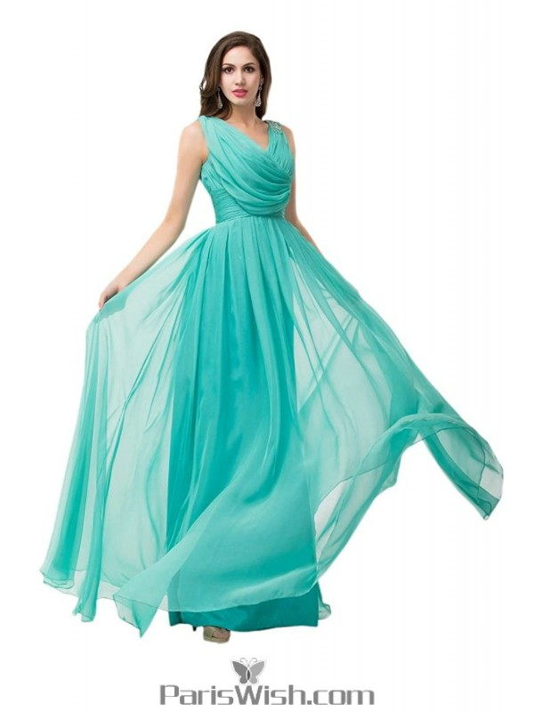 Pleated Draped Chiffon Long Bridesmaid Dresses Turquoise Prom Dress