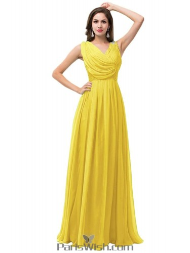 Pleated D Chiffon Long Bridesmaid Dresses Yellow Prom Dress
