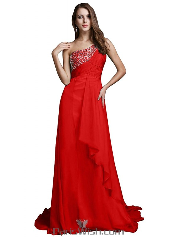 Sequin Chiffon One Shoulder Red Prom Formal Dresses