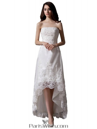 1c8ff7b74314 Strapless Beaded Sequin High Low White Prom Dresses Beach Wedding Dresses