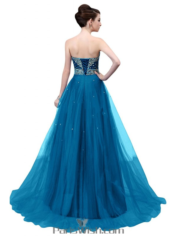 Tulle Beaded Sequin Black Strapless Ball Gown Blue Prom Formal Dresses