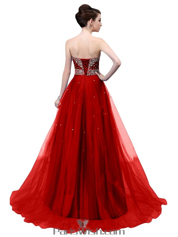 Tulle Beaded Sequin Red Strapless Ball Gown Black Prom Formal Dresses