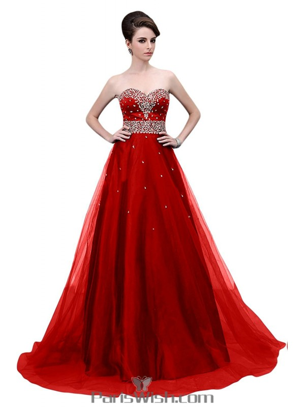 Tulle Beaded Sequin Red Strapless Ball Gown