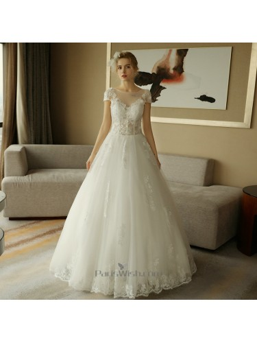A Line Lace Illusion Short Sleeves Wedding Gowns