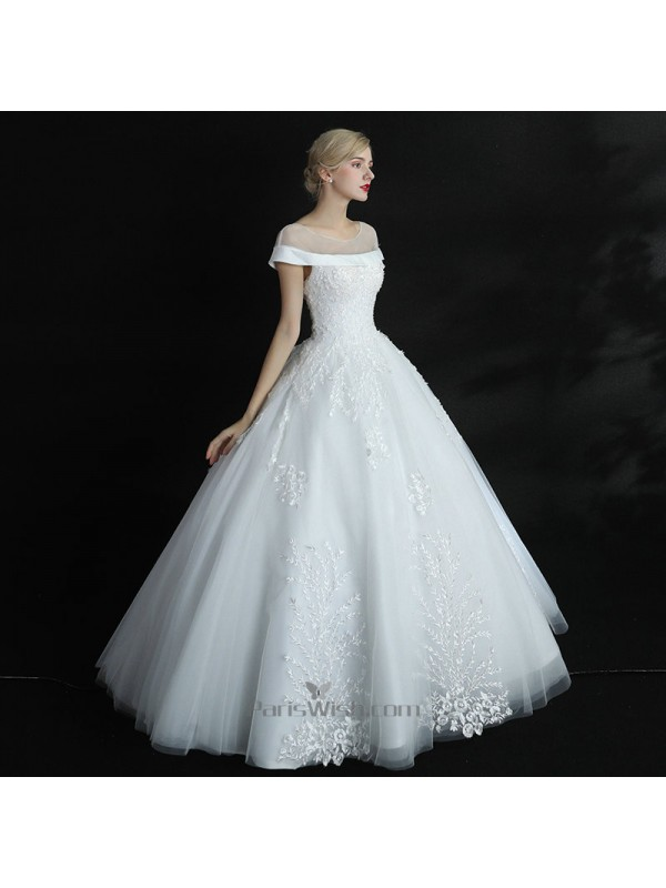 Beaded Embroidery Ball Gown Short Sleeves Wedding Dresses Online