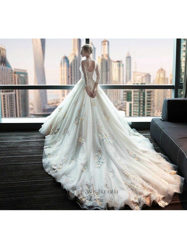High Neck Long Sleeves Fancy Wedding Dress With Royal Train Online