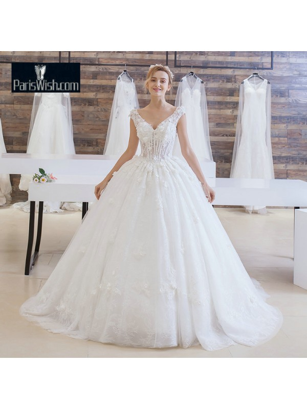 Lace Appliqued Corset Ball Gown Wedding Dress With Cathedral Train ...