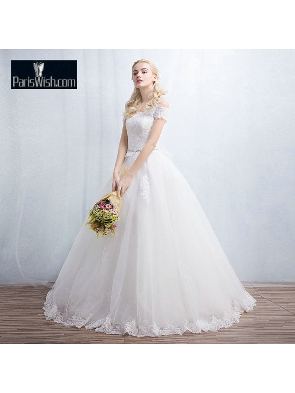 Scalloped Edge Lace Top Off The Shoulder Wedding Gowns Online
