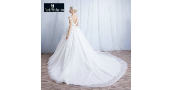 Scalloped Lace Ball Gown Low Back Wedding Gowns Online