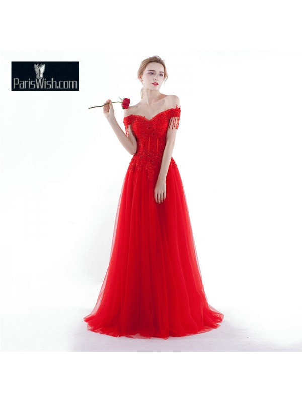 Tulle Beaded Off The Shoulder Corset Wedding Dress Red With Tassel ...