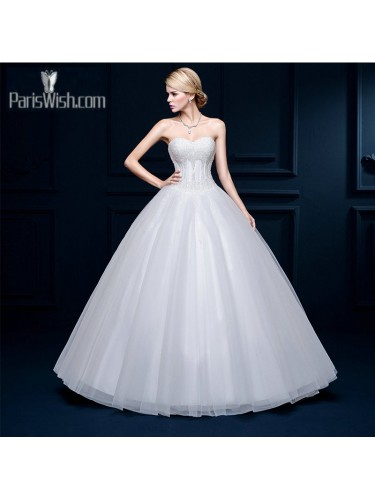 Tulle Beaded Sweetheart Ball Gown Wedding Dresses With Drop Waist Online