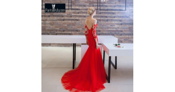 Tulle Embroidery Illusion Red Mermaid Wedding Gowns Online
