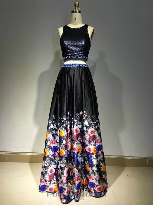 High Neck Floral Two Piece Prom Dresses With Sequin Top