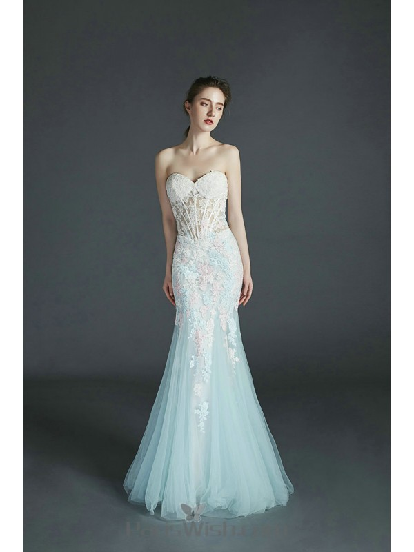 Strapless Embroidery Light Blue Mermaid Prom Evening Dress With ...