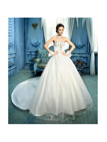 A Line Beaded Lace Strapless Plus Size Wedding Bridal Gowns
