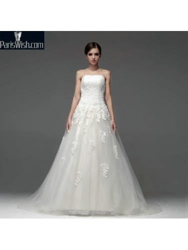 A Line Floor Length Strapless Lace Embroidered Wedding Gowns