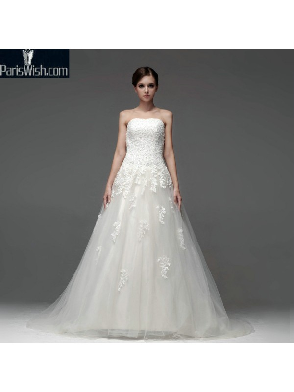 A Line Floor Length Strapless Lace Embroidered Wedding Gowns Online