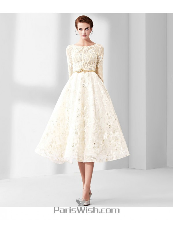 A Line High Neck Lace Short Wedding Dress With Sleeves