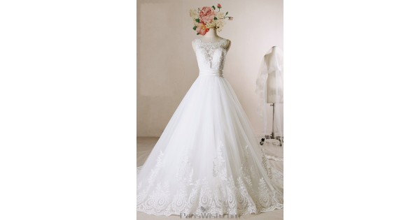 A Line Scalloped Lace Low Back Wedding Dresses Online