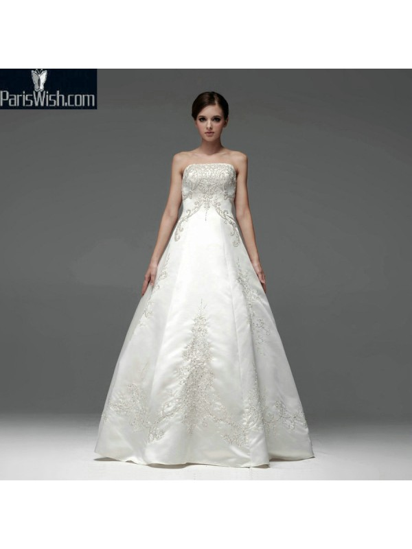 A Line Strapless Beaded Vintage Plus Size Wedding Gowns Online