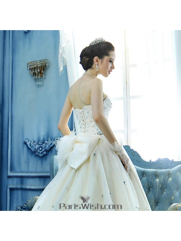 Ball Gown Strapless Crystal Big Bow Wedding Dresses 2018 Online