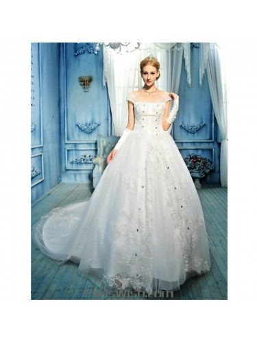 Beaded Embroidered A Line Cap Sleeves Wedding Dress Online