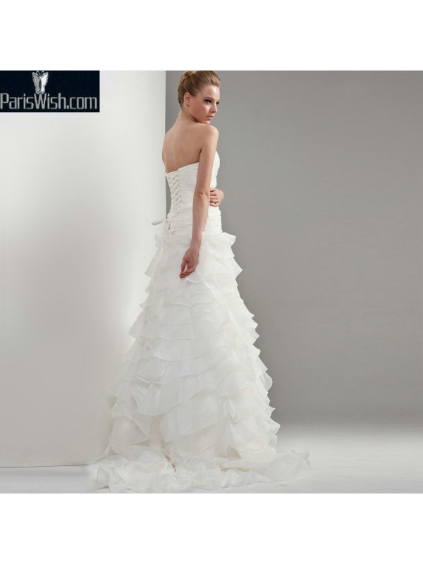 Crinkle Strapless Ruffled Plus Size Wedding Dresses Online