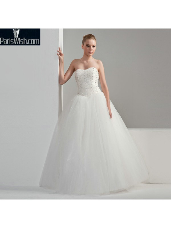 Floor Length Tulle Beaded Ball Gown Plus Size Wedding Dresses Online