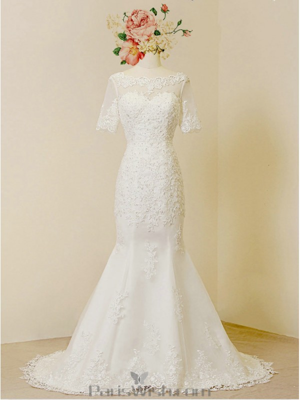 Lace Mermaid Low Back Scalloped Wedding Bridal Gowns Online
