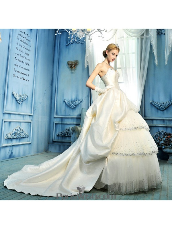 Tulle Taffeta Beaded Ball Gown Wedding Dresses With Big Bow Online