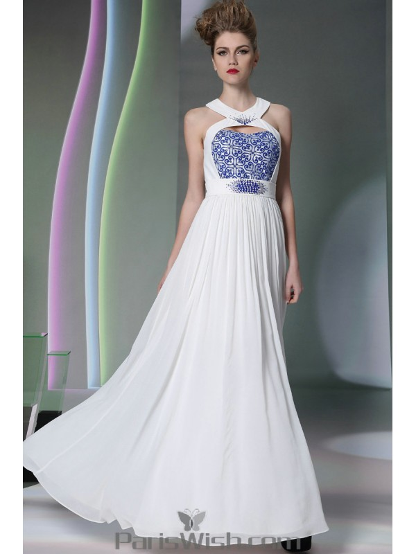 cc3a97b42c3d Beaded Embroidered Cutout Halter White With Blue Prom Dresses Beach Wedding  Gowns