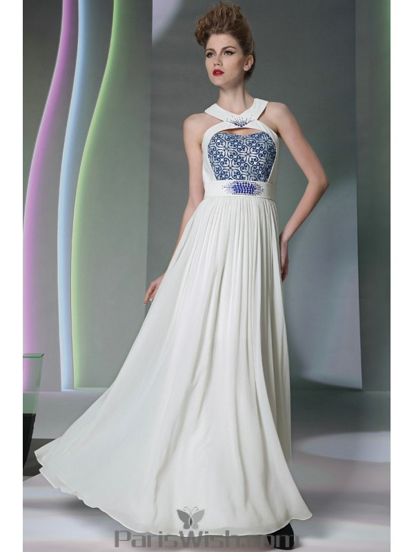 db5a339d70d3 ... Beaded Embroidered Cutout Halter White With Blue Prom Dresses Beach  Wedding Gowns ...