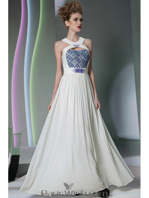 f2c23b78d9be ... Beaded Embroidered Cutout Halter White With Blue Prom Dresses Beach  Wedding Gowns