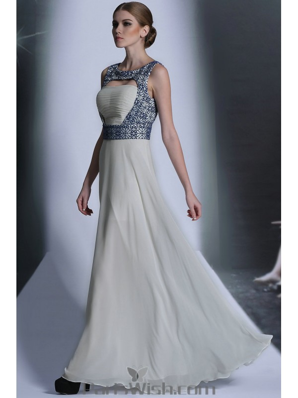 Chiffon Embroidered White With Blue Cut Out Prom Formal Dresses ...