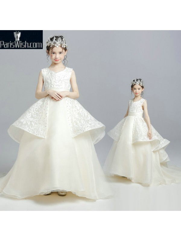 Embroidered Beaded Cream Ball Gown Unique Little Girl Pageant ...