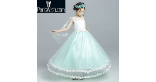 Lace Tulle Blue With White Little Girl Birthday Dresses With Cape Online