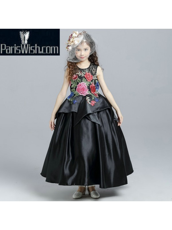 8caf444707 Satin Ball Gown Embroidered Black Peplum Little Girl Dress With Big Flowers