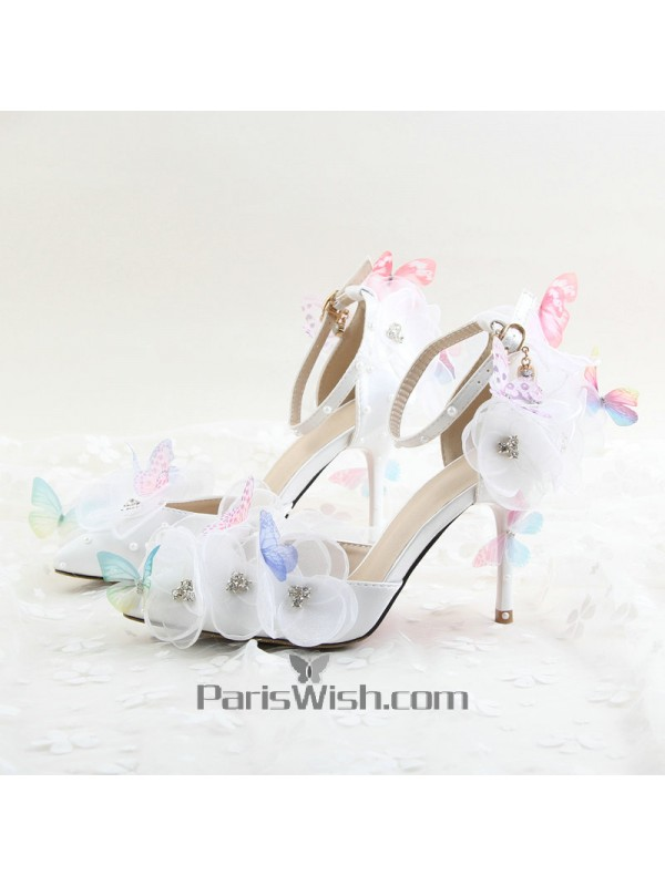 a1b8726f329 Ankle Strap Pointed Toe Lace Flowers Butterfly Wedding Shoes 9 cm ...