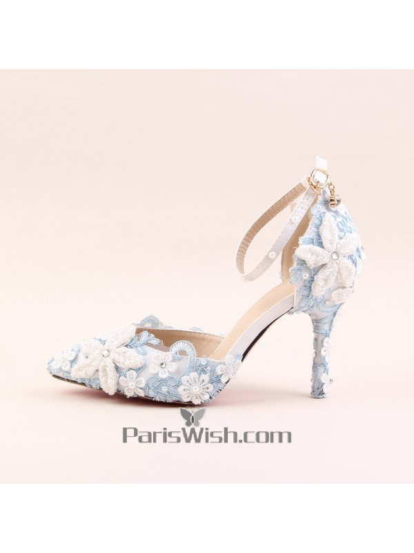 f5c97b7e4ee Ankle Strap Pointed Toe White And Blue Lace Wedding Sandals Online