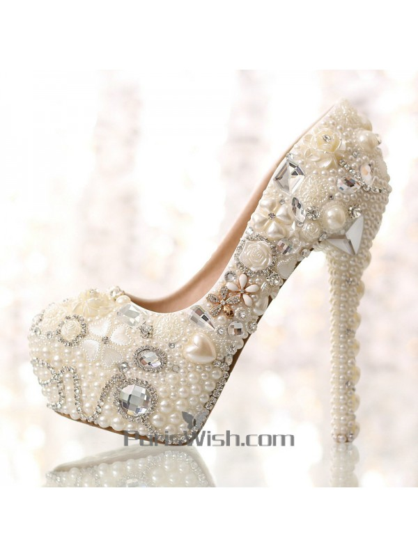 ... Crystal Pearl Red Floral Wedding Shoes With 6 Inch Heel ...