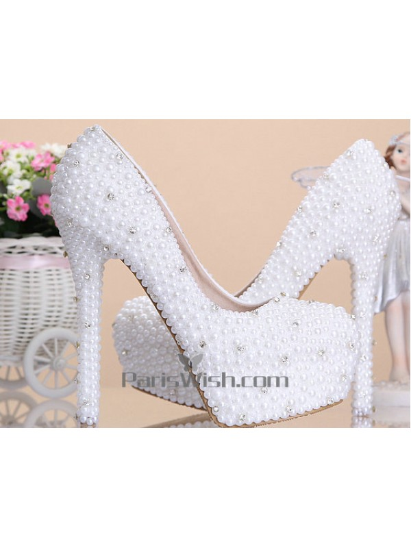 Crystal Platform White Pearl Wedding Shoes With 6 Inch Heel Online
