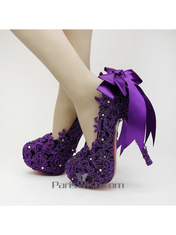 Embroidered Beaded Lace Purple Wedding Shoes With Back Ribbon Online