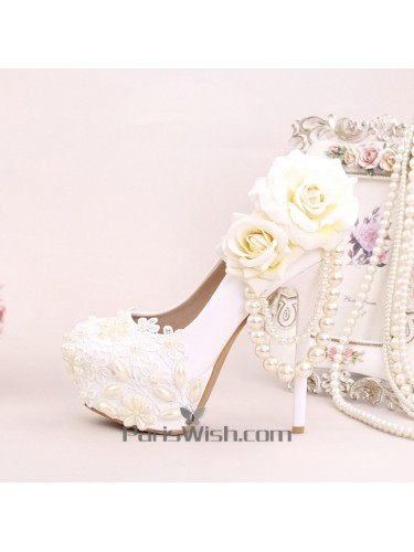 Embroidered Lace Pearls And Flowers Wedding High Heels
