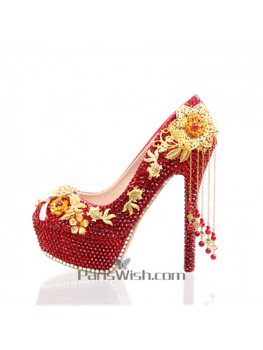 Metal jewel allover rhinestone red with gold wedding shoes with metal jewel allover rhinestone red with gold wedding shoes with tassel junglespirit Gallery