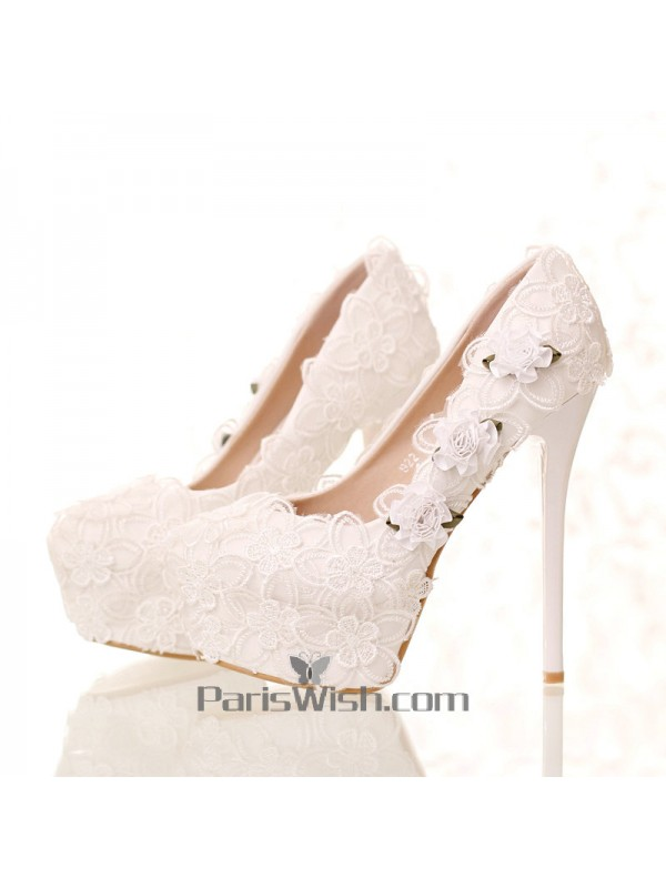 new cheap amazon presenting Platform Ultra High Heel White Lace Wedding Shoes Online