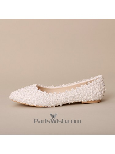90b8582ca8c Pointed Toe Pearls Flat Lace Wedding Shoes