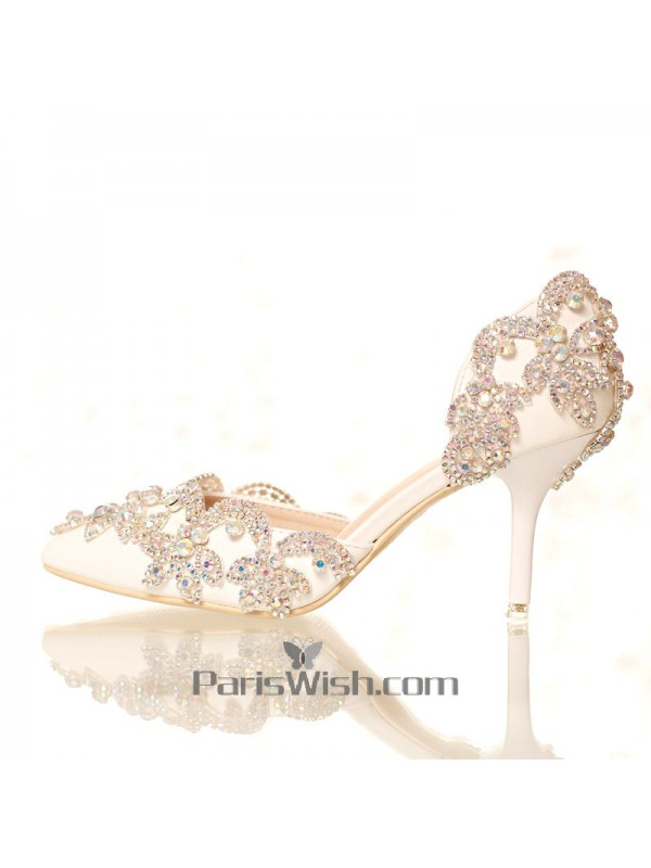 1bdbb15369a Pointed Toe White Crystal Wedding Sandals With Alternative Heels Online