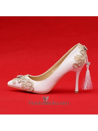 Pointed Toe White Wedding Shoes With Gold Lace And Tassel
